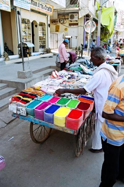 На рынке.