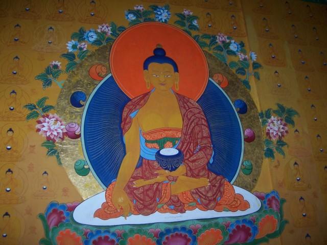 Дхарамсала Фреска Будды в Храме в Норбулинке