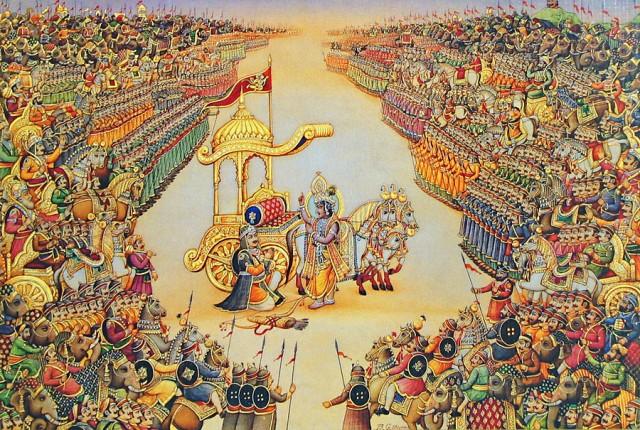 Арджуна и Кришна на поле битвы Курукшетра