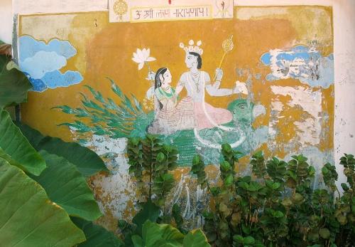 Радха и Кришна. Роспись стены в Гокарне.