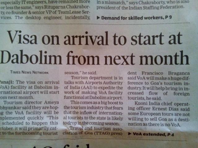 Виза по прилету в индийских новостях