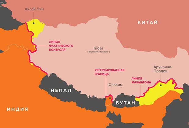 Желтым обозначены спорные территории на границе Индии и Китая (Тибета)