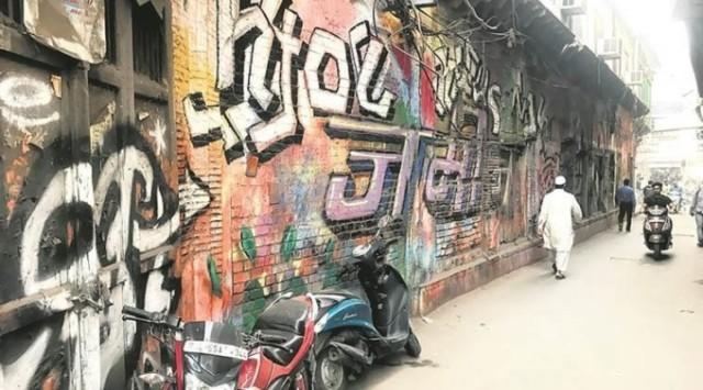 Одна из покрашенных стен. Фото Indian Express