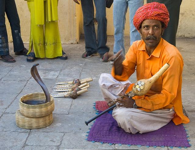 Заклинатель змей на улицах Дели, Индия