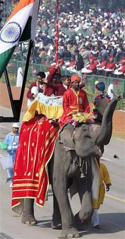 Традиционно шествие замыкают церемониальные слоны, на которых сидят дети, награжденные президентом за личное мужество.