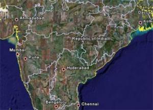 Общий вид Индии на снимке Google Earth