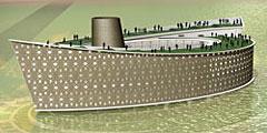 Здание музея похоже на корабль.