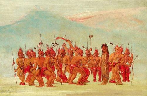воины объединенного племени фокс и саук, исполняющие ритуальный танец вокруг «человека с двумя душами» — бердаче