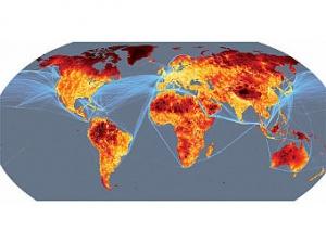 Карта труднодоступности регионов мира. Чем цвет темнее, тем сложнее добраться до этого места.